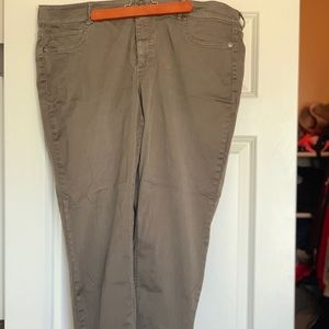 Olive jeggings; Maurice's; Plus size 22